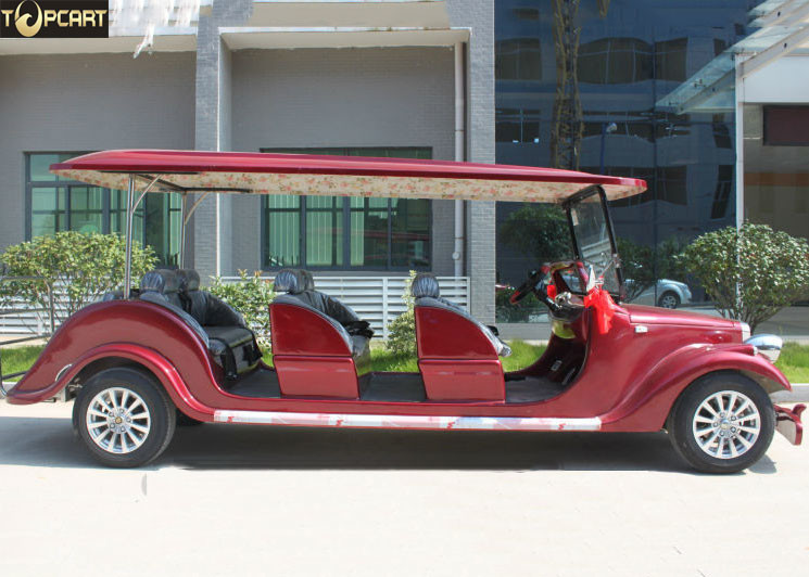Graceful Design Classic Golf Cart 8 Seater Red Color With 30 Km/H Max Speed